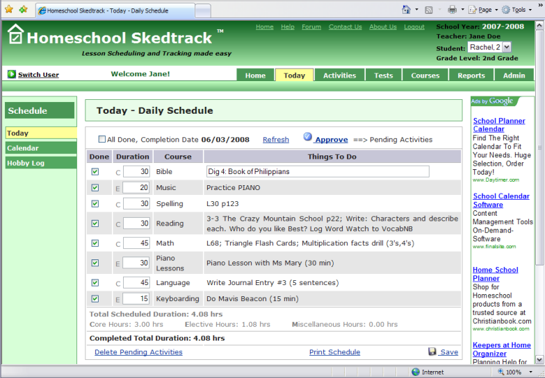 Homeschool skedtrack free online homeschool tracking for Free planbook